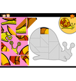cartoon snail jigsaw puzzle game vector image vector image