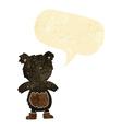 cartoon teddy black bear with speech bubble vector image vector image