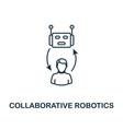 collaborative robotics icon thin line style vector image vector image