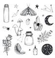 collection mystical magic boho elements vector image