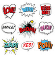 comic speech bubbles with exclamations superhero vector image vector image