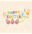 Concept Happy Easter with flowers and eggs vector image vector image