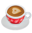 Cup of coffee with milk on a saucer vector image vector image