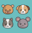cute animals kawaii style vector image vector image