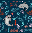 cute cartoon style pattern with funny sharks vector image vector image