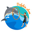 dolphin show round design concept vector image vector image