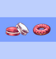 donut and macaroon hand drawn bakery product vector image vector image
