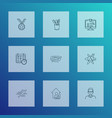 education icons line style set with online course vector image