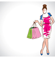 fashion women with shopping bag vector image vector image