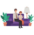 father and son sitting in couch avatar character vector image vector image