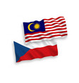flags czech republic and malaysia on a white vector image vector image