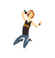 funny man singing into microphone in jumping vector image vector image
