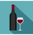 Glass and bottle of red wine icon flat style vector image vector image