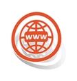 Global network sign sticker orange vector image vector image
