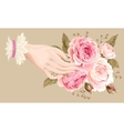 hand with roses vector image vector image