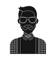 Hipster icon in black style isolated on white vector image