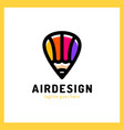 hot air balloon locator with pencil simple vector image vector image