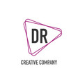 initial letter dr triangle design logo concept vector image vector image