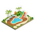 isometric view swimming travel resort vector image