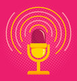 microphone on pink halftone background vector image vector image