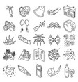 new year set icon doodle hand drawn or outline vector image