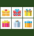 packed holiday boxings with bows and ribbon decor vector image vector image
