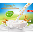 realistic poster with a milk splash and vector image vector image