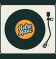 retro music poster with vinyl record and player vector image vector image