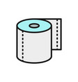 roll toilet paper napkins flat color line icon vector image vector image