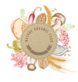 round paper emblem over autumn food hand drawn vector image