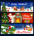 santa christmas gifts sledge xmas tree banners vector image vector image