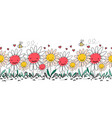 seamless border doodle flowers bees and vector image vector image