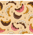 Seamless croissant background vector image