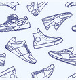 seamless pattern with sneaker shoe line stroke vector image