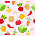 seamless vegetables pattern on pink background vector image vector image