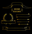 set gold handdrawn vintage elements ribbons vector image vector image