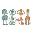set with robots in outline style with vector image