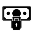 silhouette bill cash money with padlock security vector image vector image
