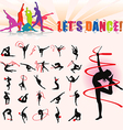 silhouettes of artistic gymnastics vector image