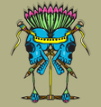 Skull Totem with vibrant color vector image