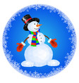 snowman in red mittens and striped scarf vector image
