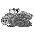The barn owl and girl vector image