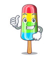 thumbs up character beverage colorful ice cream vector image vector image