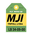 tripoli airport luggage tag vector image vector image