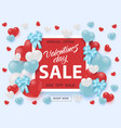 valentines day sale banner with sign on red shape vector image vector image