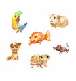 watercolor pets little cute suitable for children vector image vector image