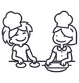 children cooking line icon sign vector image
