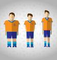 Football Players in Orange Sportswear vector image