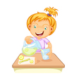 a girl drinking juice vector image vector image