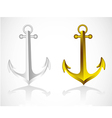 anchors gold and silver on white background vector image